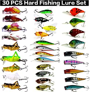 XBLACK Hard Fishing Lure Set Assorted Bass Soft Fishing Lure Kit Colorful Minnow Popper Crank Rattlin VIB Jointed Fishing Lure Set Hard Crankbait Tackle Pack Saltwater Freshwater