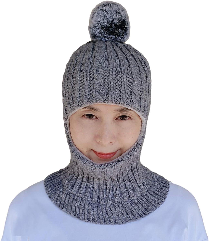 GZMM Women's Winter Beanie Hat Knitted Balaclava Earflap Hood Scarves Skull Caps Fleece Lined