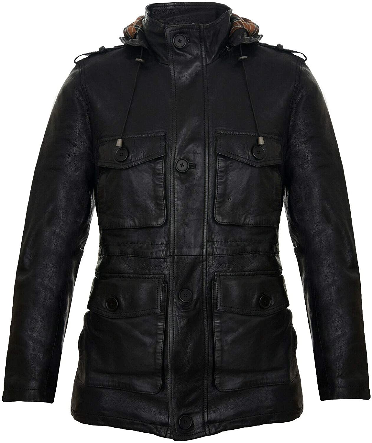 Men's Hooded Leather Multi-Pocket Duffle Trench Coat with Drawstring