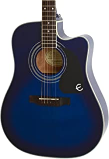 Epiphone Pro-1 Ultra Solid Top Acoustic/Electric Guitar System for Beginners, Gloss Translucent Blue