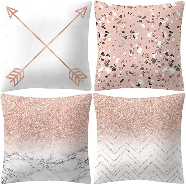 MODAO 4 件装枕头套玫瑰金粉色靠垫套方形枕头套家居装饰 45X45 厘米美国发货
