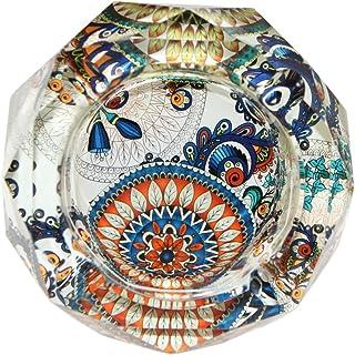 Winterworm - Cenicero de cristal en forma de octágono de 10cm, cristal, Mandala.