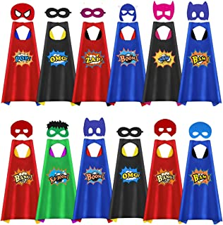 Capes for Kids, 12 Pack Kids Capes and Masks for Kids Boys Girls Birthday Party Costume Dress Up Halloween Party Favors