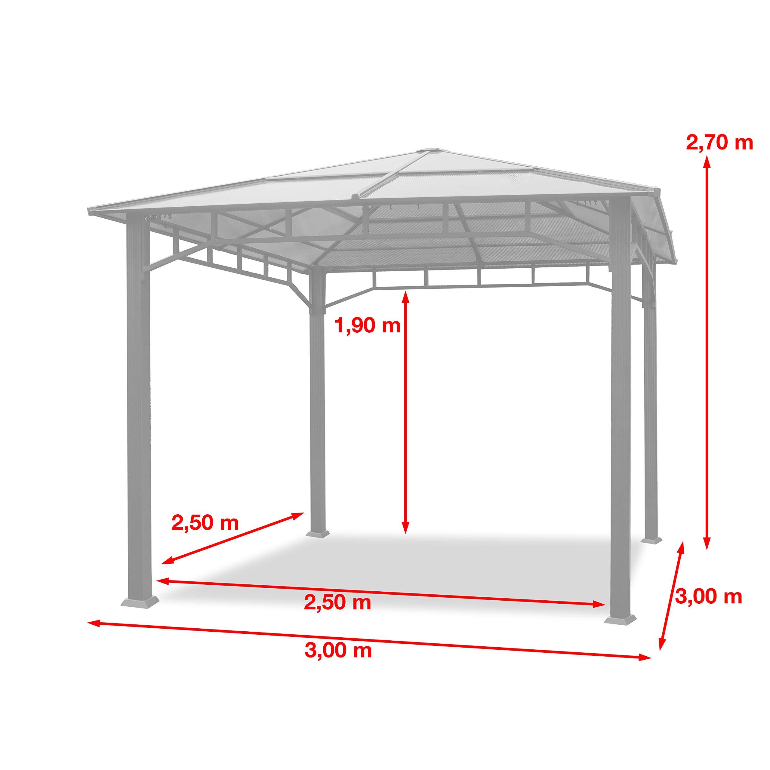 TOOLPORT Cenador de jardín 3x3m Impermeable ALU Deluxe Techo de policarbonato Pabellón 8mm Cenador 4 Lados Carpa Fiesta Gris 9x9cm Perfil: Amazon.es: Jardín