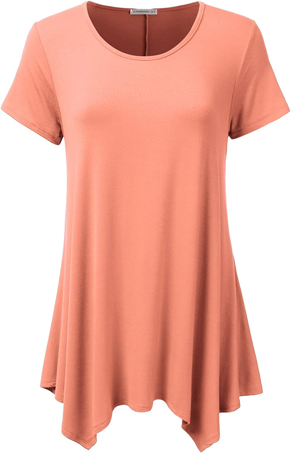 JJ Perfection Women's Short Sleeve Loose Fit Swing Tunic Top TShirt