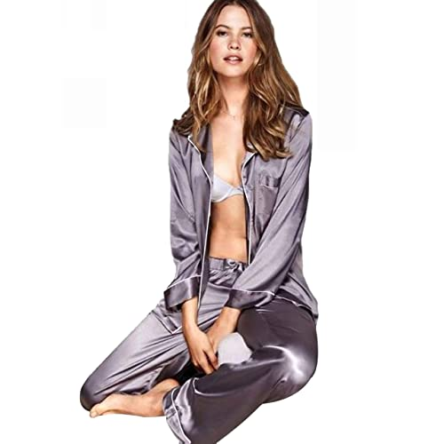 a956026c18 LONXU Womens Silk Satin Pajamas Set Sleepwear Loungewear XS~3XL Plus Gifts