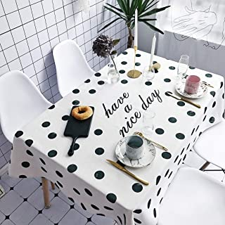 Simple Modern kitchen/home tools Small Wave Point Pattern Waterproof Anti-scalding Rectangle Cotton and Linen Table Cloth,...