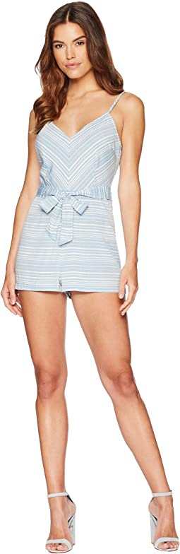 Nissa Self-Tie Striped Romper