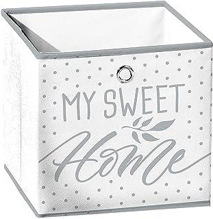 Macosa U6GMB56 Panier de rangement pliable 31 x 29 cm Blanc/gris Sweet Home Boîte de rangement carrée