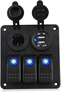 Dual USB Charging Toggle Rocker Control Switch Breaker Volt Overload Protection (Color : 3 Gang Blue LED)