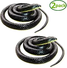 Homdipoo Realistic Fake Rubber Snake Black Snake Toys That Look Real Prank Stuff Cobra Snake 49 Inch Long (2pack)