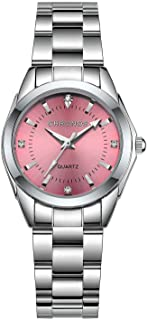 Women Girls Waterproof Stainless Steel Quartz Watch Round Analog Blue Silver Pink Lady Steel Watch