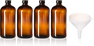4 Pack - 32oz Boston Round Air Tight Seal Amber Glass Growler Kombucha Bottles- with Phenolic Poly Cone Insert Caps and Funnel for Secondary Kombucha Fermentation and Film Developing Bottles
