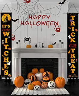 DESTURE Halloween Decorations Outdoor Porch Sign, Trick OR Treat Hocus Pocus Large Banners Porch Signs with Black Bats, Cute Porch Door Decorations for Home Front Door