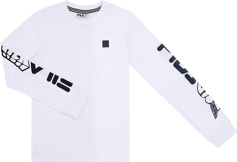 Fila Heritage Boys Crew Neck Long Sleeve Fashion Logo Graphic Tee Shirt Kids Clothes