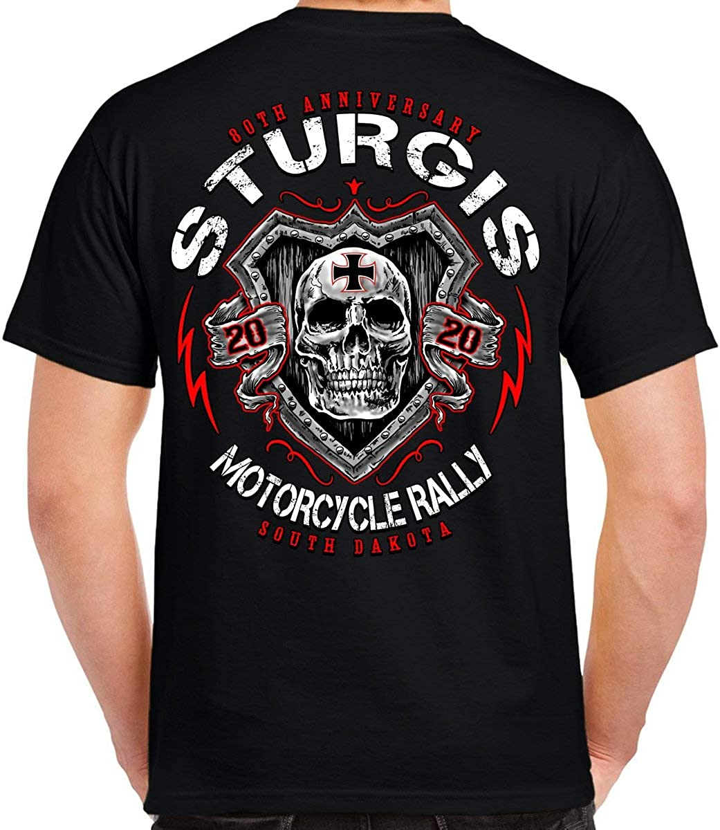 Biker Life Clothing 2020 Sturgis Motorcycle Rally Skull Shield T-Shirt