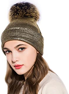 GZHILOVINGL Womene's Metallic Beanie with Big Fur Pom Pom, Double Deck Spring Hat