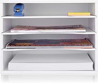 eMerit Wood Desktop Organizer Paper Storage Letter Tray File Sorter for Home Office,White