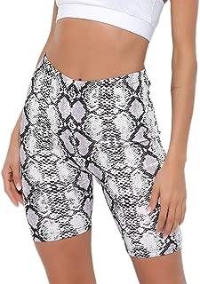 Jollymoda Women's Leopard Snakeskin Print Biker Shorts Legging