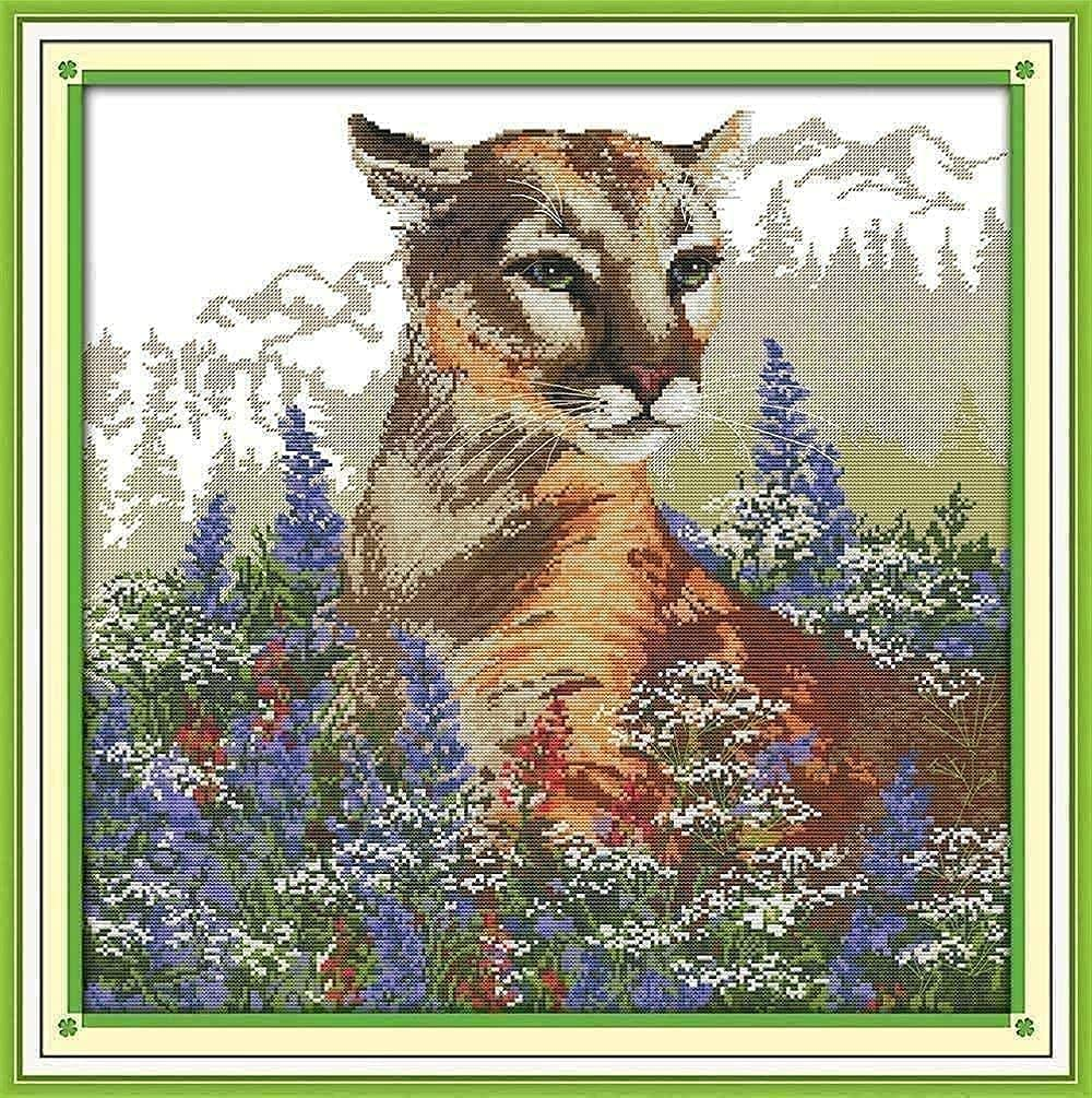 free Cross Stitch Starter Kits for Adults 11CT DIY Flowers Cat The Limited Special Price in