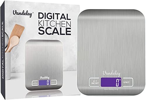 Vandelay Digital Kitchen Weighing Machine Scale for Food Baking Cooking for Home Use Health and Fitness Weight Digital Stainless Steel Electronic