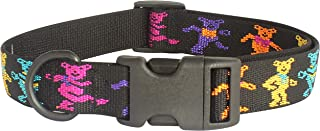 My Sunnies Grateful Dead Dancing Bears Adjustable Dog Collar 1-inch Wide, Size S, M, L Lengths