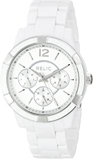 Women's Payton Quartz Stainless Steel and Acetate Casual Watch, Color: Silver, White (Model: ZR15699)