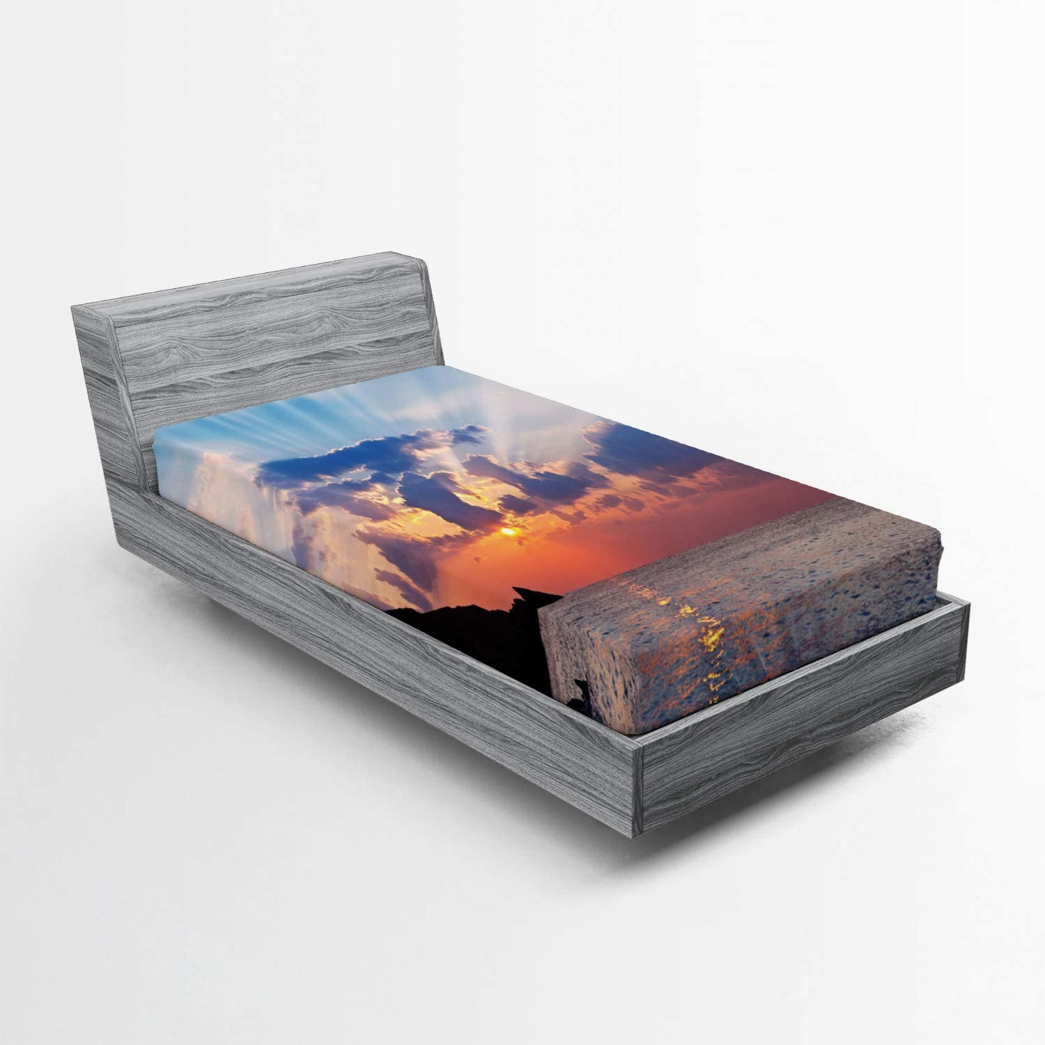 Lunarable Ocean Fitted Sheet Landscape and Photo Mountains R It is very [Alternative dealer] popular of