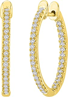 1-5 Carat Total Weight Inside Out Diamond Hoop Earrings Premium Collection (H-I Color SI2-I1 Clarity)
