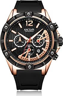 MEGIR Men's 12/24 Display Chronograph Luminous Sports Military Quartz Wristwatch with Silicone Band