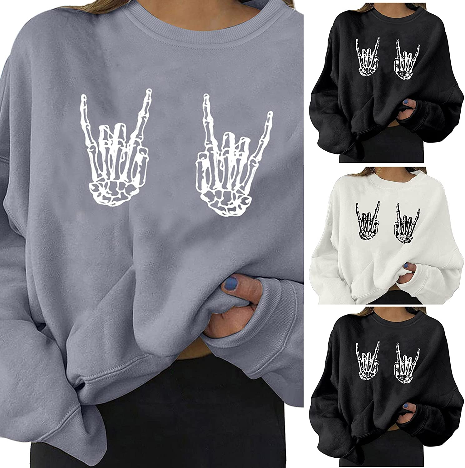 Women's Skeleton Hand Halloween Sweatshirts Long Sleeve Workout Casual Pullovers Fashion Lightweight Boatneck Blouses