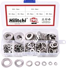 Hilitchi 295-Pcs 304 Stainless Steel Spring Wave Washer Gasket Assortment Kit - Size Include: M3 M4 M5 M6 M8 M10 M12