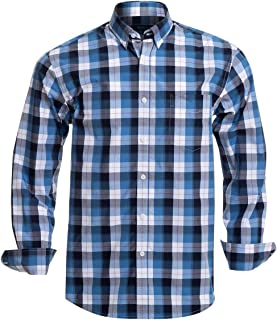Mens Button Down Shirts Long Sleeve 100% Cotton Plaid Shirts Regular Fit Button Down Shirts for Men