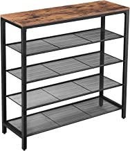 VASAGLE Shoe Rack, 5-Tier Shoe Storage Organizer with 4 Metal Mesh Shelves for 16-20 Pairs and Large Surface for Bags, for Entryway, Hallway, Closet, Industrial, Rustic Brown ULBS15BX