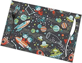 NiYoung Stain Resistant Placemats, 6 Pieces, Luxuary Heat-Resistant Tablemats, Kitchen Mats for Dining Kitchen Restaurant Table, Space Stars Kids Animals Insulation Pad, 12x18 inch