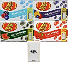 Jelly Belly Sugar Free Gum Variety: Very Cherry, Berry Blue, Island Punch, Watermelon (Pack of 4) with By The Cup Mints