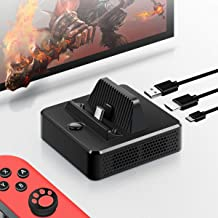 Jemall Switch Dock Adapter, Portable Replacement Charging Dock for Nintendo Switch Charging Stand with USB 3.0 Data Port, HDMI @4K 1080P Video Port, USB Type C Power Input Port