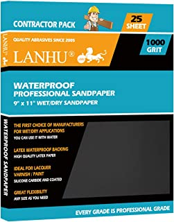 LANHU 1000 Grit Sandpaper for Wood Furniture Finishing, Metal Sanding and Automotive Polishing, Dry or Wet Sanding, Multipurpose Sandpaper, 9 x 11 Inches, 25-Sheets