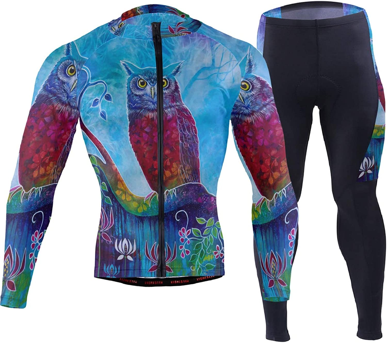 FAJRO Art Night Owl Painting Sportswear Suit Bike Outfit Set Breathable Quick Dry 3D Padded Pants