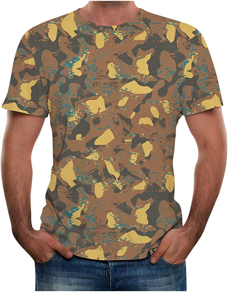 Gergeos Men Summer Camouflage Printed T Shirt Plus Size Short Sleeve Casual Tee S-3XL