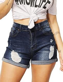 Womens Stretchy Denim Shorts High Waisted Folded Hem Ripped Jeans Shorts