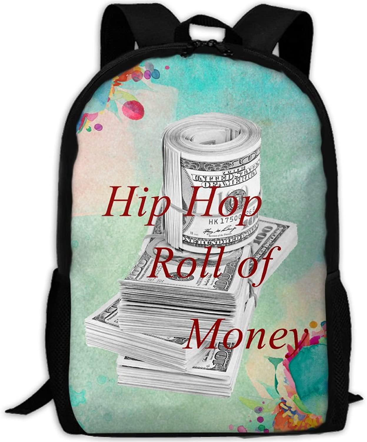 Adult Backpack Hip Hop Roll of Money College Daypack Oxford Bag Unisex Business Travel Sports Bag with Adjustable Strap