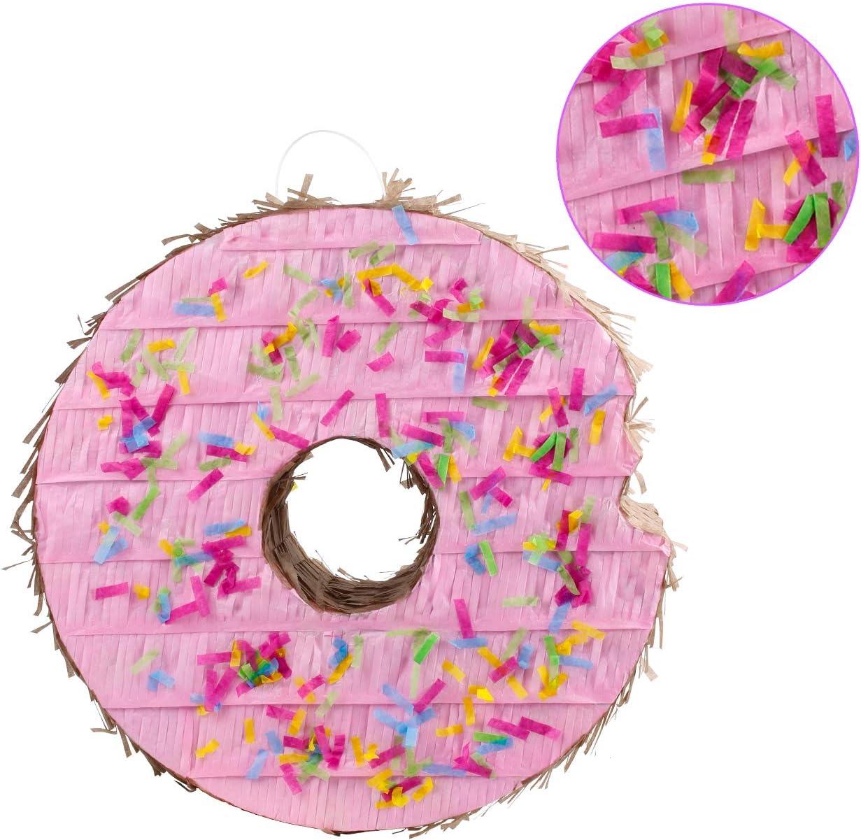 kaimei Donut Pinata Small Pinata for Birthday Anniversary Celebration Decoration Theme Party Cinco de Mayo Fiesta Supplies with Stick Multicolor Colorful Pinata