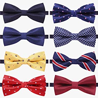 8 PACKS Elegant Adjustable Pre-tied bow ties for Men Boys in Different Colors(1&5&6&8Pack for option)