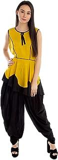 Patrorna Blended Women's Princess Line Peplum Top and Dhoti Pant Set In Mustard Yellow Black (Size XS-7XL, CE651MU810)