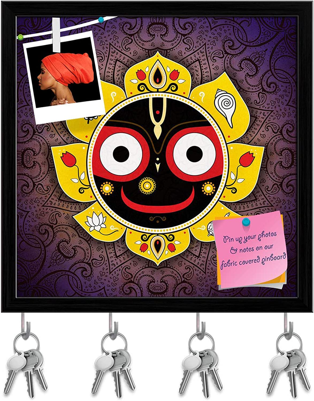 Artzfolio Lord Jagannatha Indian God of The Universe D2 Key Holder Hooks   Notice Pin Board   Black Frame 20 X 20Inch