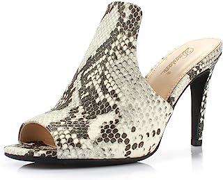 DUNION Women's Brody Comfortable Peep Toe Stiletto High Heel Dress Slip on Mules