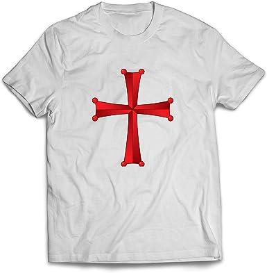 lepni.me Camisetas Hombre Orden del Templo de Salomón - La Cruz Roja de los Caballeros Templarios