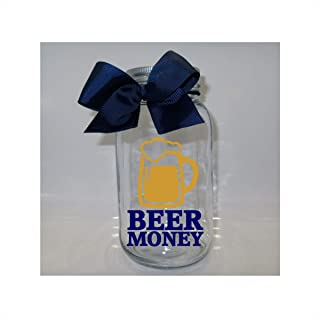 Beer Money Mason Jar Bank - Coin Slot Lid - Available in 3 Sizes