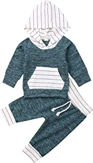 Infant Baby Boys Girls Striped Hooded Sweatshirt T-Shirt Tops+Striped Pants Kids Outfits Winter Fall Clothes Set